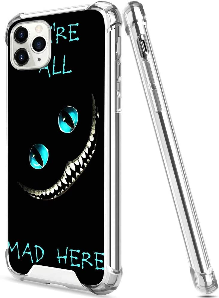Amazon Com Disney Collection Bumper Case Compatible With Iphone 11 Pro Max 2019 6 5 Alice In Wonderland Cheshire Cat Crazy Wallpaper All Mad Here