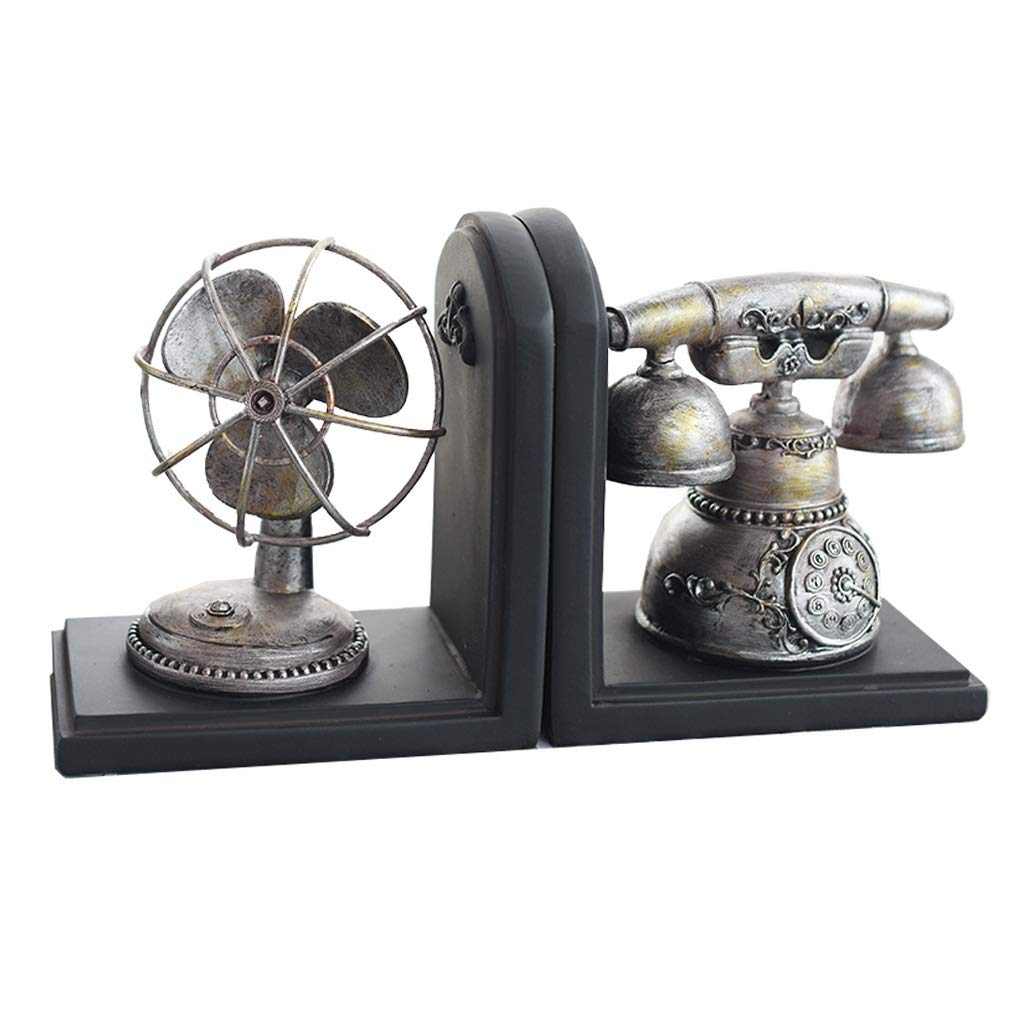 Xilin-shop Bookends Nonskid Vintage Resin Bookend Fan and Landline Decoration Book File Creative Desktop Decoration Gift 6.4 Inches, 1 Pair Art Bookend by Xilin-shop