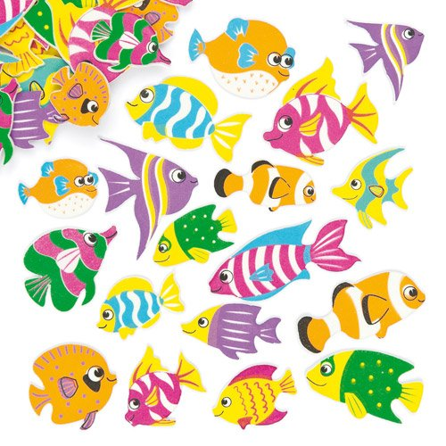 (Baker Ross Tropical Fish Foam Stickers Embellishments for Children's Craft Projects Card Making Scrapbooking - Pack of 100)