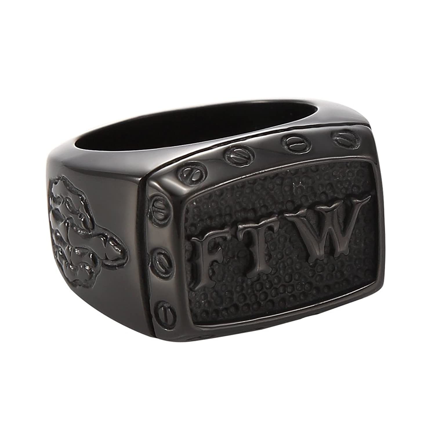 MOWEN Mens Stainless Steel Vintage FTW Biker Middle Finger Ring,Black