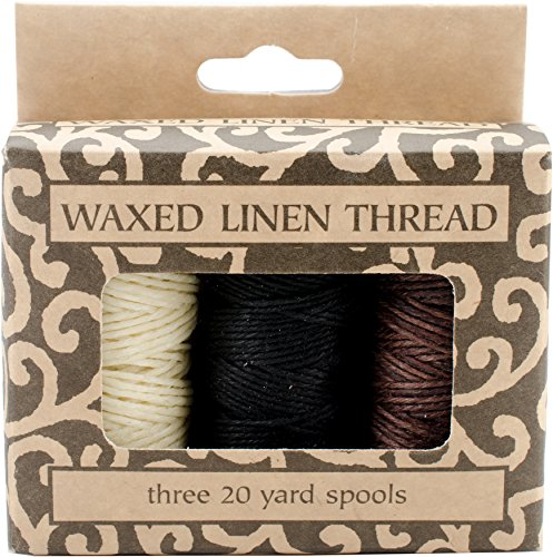 Lineco Natural, Brown, Black; 20yds Each Waxed Linen 5 Ply Thread 3/Pkg