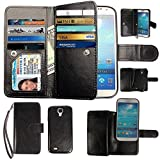 Case for Samsung Galaxy S4, xhorizon Premium Leather Folio Case [Wallet Function] [Magnetic Detachable] Fashion Wristlet Lanyard Hand Strap Purse Soft Flip Book Style Multiple Card Slots Cash Compartment Pocket with Magnetic Closure Case Cover Skin ZA5 for Samsung Galaxy S4 (I9500) - Black