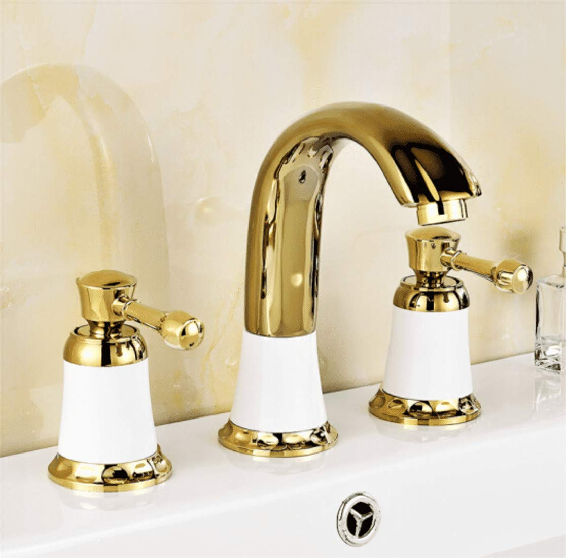 A Mucert Tap,All Copper,Hot and Cold Mixing Water,Three Hole European gold Faucet,Bathroom Basin Faucet,A