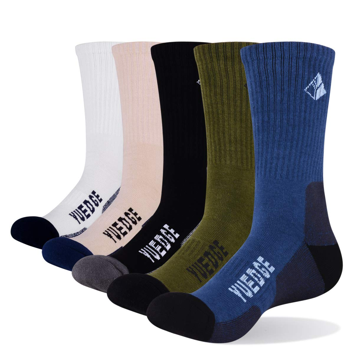 YUEDGE 5 Pairs Men's Cushion Crew Outdoor Sports Workout Hiking Socks by YUEDGE