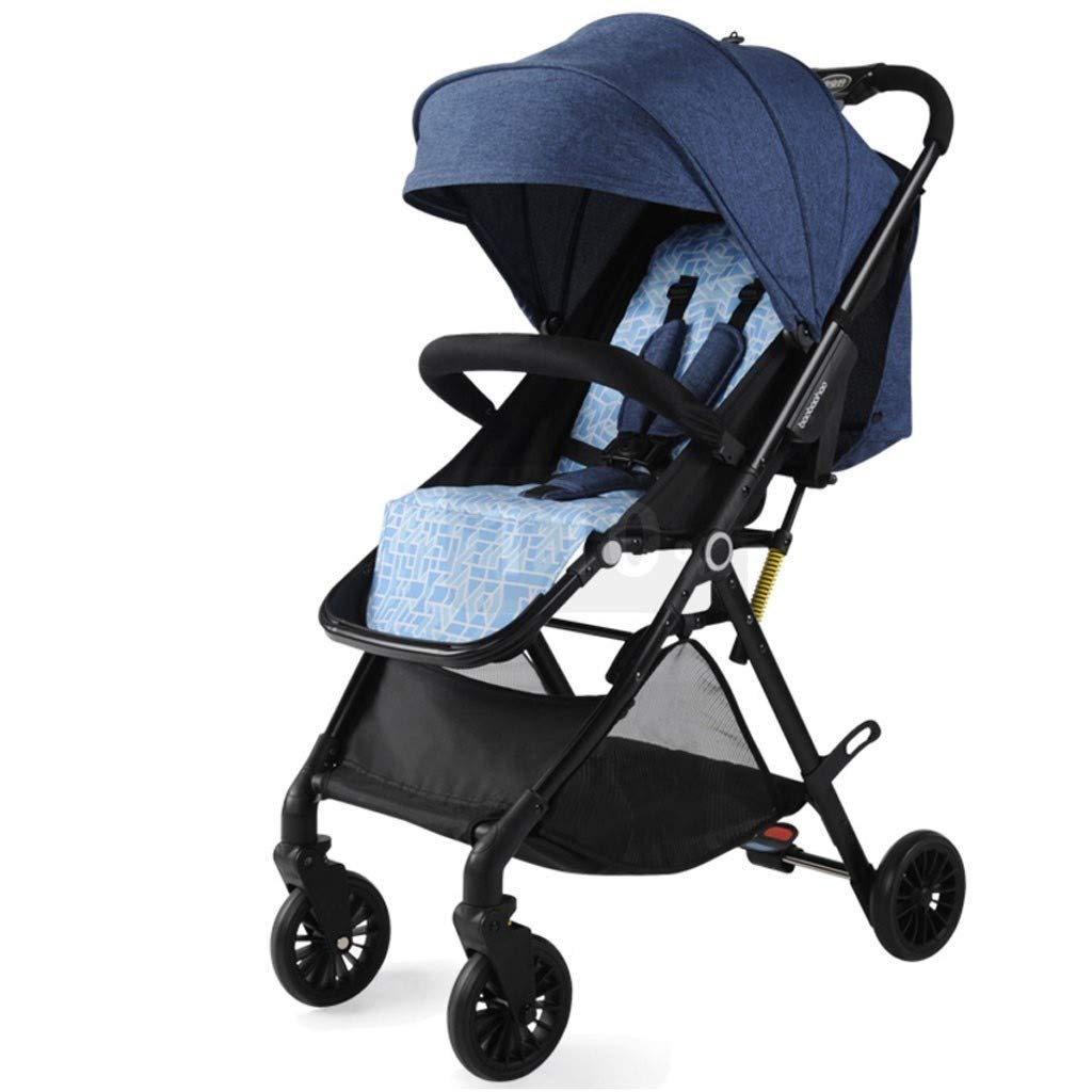 RJJX Home Baby Stroller Ultra Light Portable Stroller One-Button Folding High Landscape Cart, A Variety of Adjustable Awnings (Suitable for 3 Months - 3 Years Old Baby) (Color : Blue) by RJJX Home