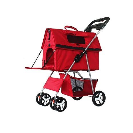 Jlxl Cochecito para Mascotas Perro Carro Plegable Desmontable y Lavable división Coche para Paquete Osito de