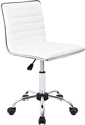 Furmax Mid Back Task Chair,Low Back Leather Swivel Office Chair,Computer Desk Chair Retro with Armless Ribbed White