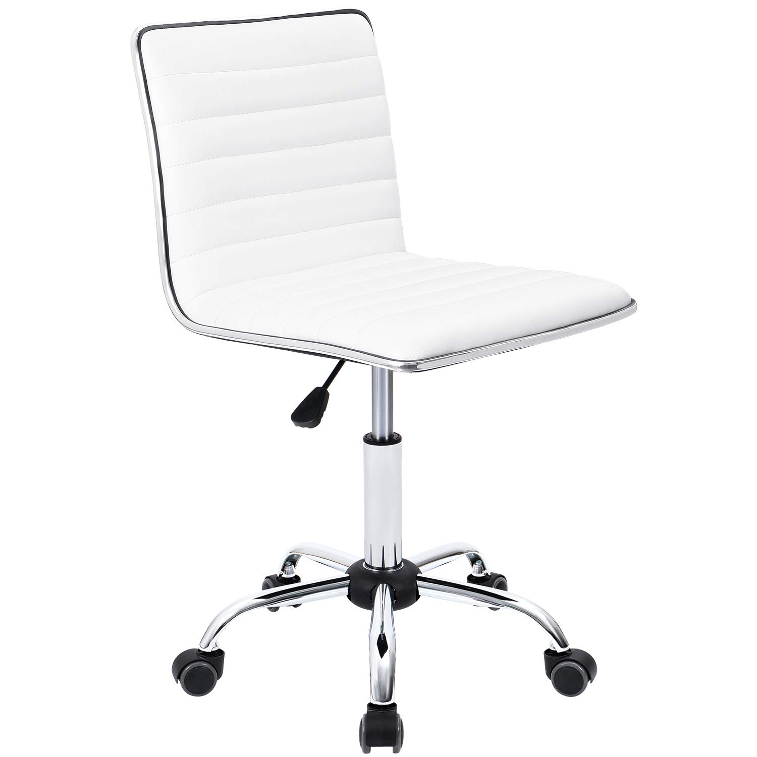 Furmax Mid Back Task Chair,Low Back Leather Swivel Office Chair,Computer Desk Chair Retro with Armless Ribbed (White) by Furmax