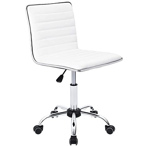 Stupendous Furmax Mid Back Task Chair Low Back Leather Swivel Office Chair Computer Desk Chair Retro With Armless Ribbed White Uwap Interior Chair Design Uwaporg