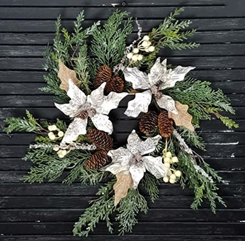 18 in Icy & Snowy Pine Wreath/Candle Ring with Poinsettia Leaves, Pinecones and Berries (Pinecone Candle Ring)