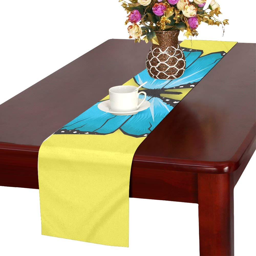 Butterfly Blue Fun Nature Insect Wing Fly Summer Table Runner, Kitchen Dining Table Runner 16 X 72 Inch For Dinner Parties, Events, Decor