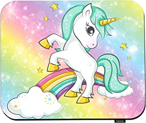 """Swono Unicorn Mouse Pads Cute Magical Green Hair Girl Unicorn and Rainbow Mouse Pad for Laptop Funny Non-Slip Gaming Mouse Pad for Office Home Travel Mouse Mat 7.9""""X9.5"""""""
