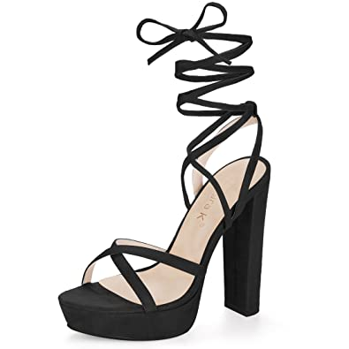 baaf9711d37 Allegra K Women s Crisscross Strap Lace Up Chunky Heel Platform Black  Sandals - 6 ...