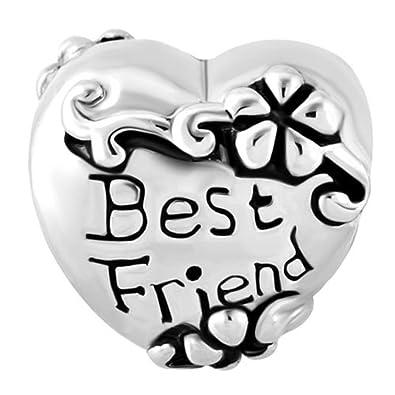 5e0628abd Uniqueen Friendship Best Friend Heart Charms Sale Cheap Jewelry Beads Fits  Pandora Charm Bracelet: Amazon.co.uk: Jewellery
