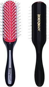 Denman Free Flow Wide Spaced Pins 9 Row Hair Styling Brush - 3-in-1 Styling Tool for Creating Volume, Detangling Thick Hair and Defining Curls, D41