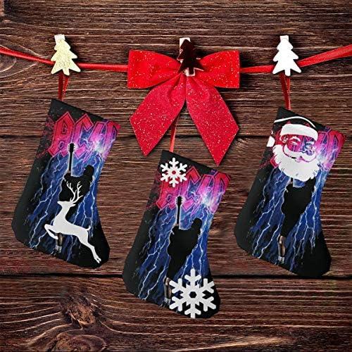 クリスマスの日の靴下 (ソックス3個)クリスマスデコレーションソックス ACDC Thunderstruck クリスマス、ハロウィン 家庭用、ショッピングモール用、お祝いの雰囲気を加える 人気を高める、販売、プロモーション、年次式