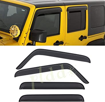 4pcs Outside Mount Smoke Vent Window Visors Fit 07-18 Jeep Wrangler JK 4-Door