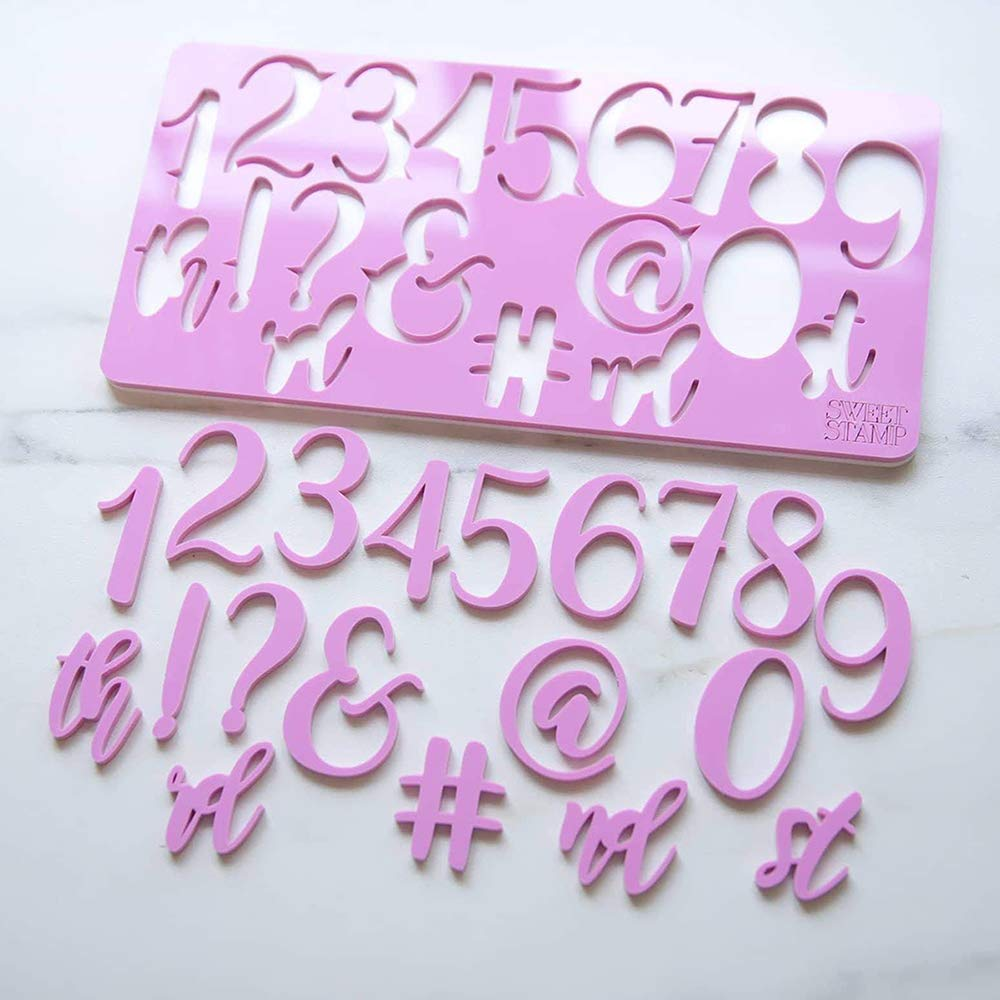 Sweet Stamp by AmyCakes Plastic Elegant Numbers and Symbols for Embossing Cakes by AmyCakes (Image #3)