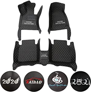 Custom Car Floor Mats for Land-Rover Discovery 5 7-Seats 2017-2019 (Lights Under The Second Row of Seats) Can Be Customized for 99% of Car Models Waterproof Non-Slip Leather Liner Set Black Beige