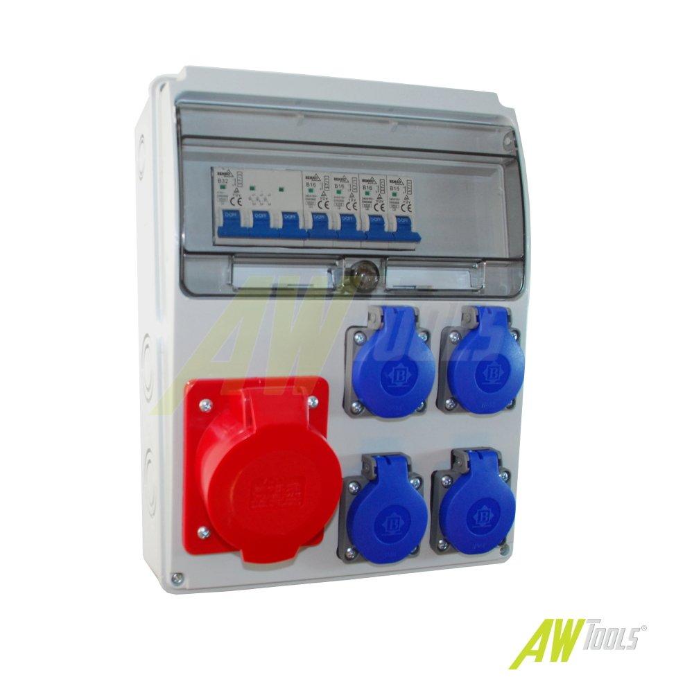Baustromverteiler / Wandverteiler 4 x Schuko 230V/16A & 1 x CEE 32A/400V verdrahtet + BEMKO LS F-ELEKTRO