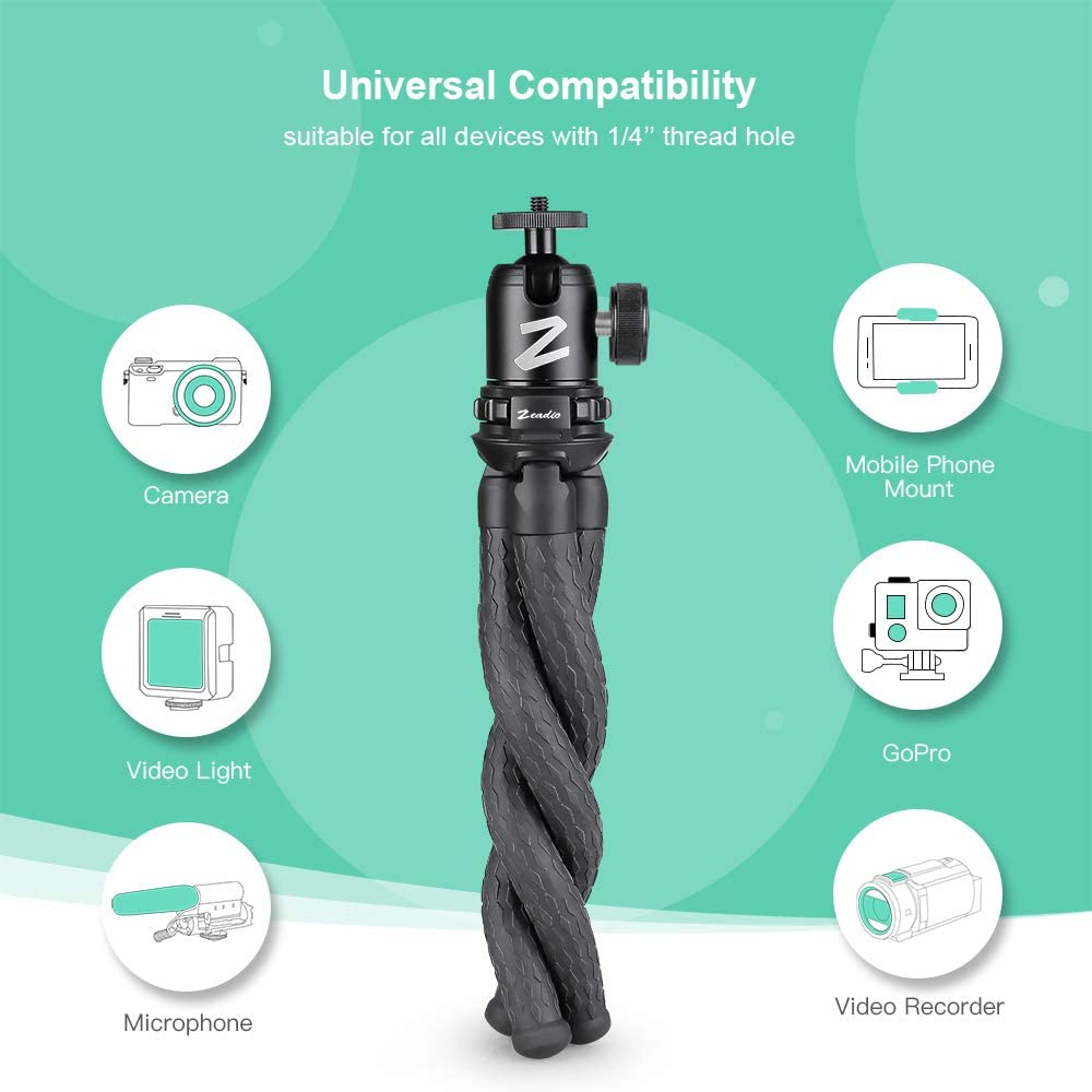Zeadio Flexible Camera Tripod Kits DSLR Gopro Action Cameras etc with Metal Ball Head Mount and Adapter for Camera,Camcorder