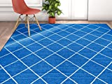 Cheap Well Woven Non-Skid/Slip Rubber Back Antibacterial 3×5 (3'3″ x 4'7″) Diamond Lattice Print Blue Thin Low Pile Machine Washable Indoor Outdoor Area Rug