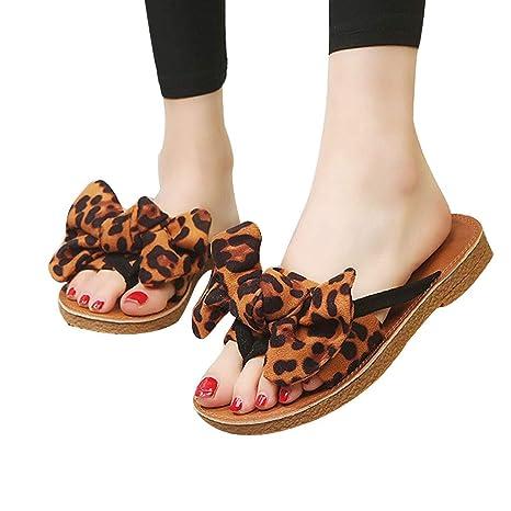 8570ace713aa2 TIMEMEANS Summer Sandals Womens Bow Leopard Print Beach Flip Flops ...