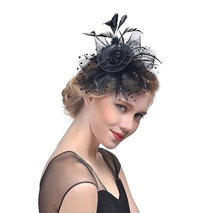 Ssowun Fletion Fascia Piuma Cappello Fiore Cappelli Cerimonia Donna  Copricapo di Piume da Sposa Prom Copricapo 60d3ace39c9f