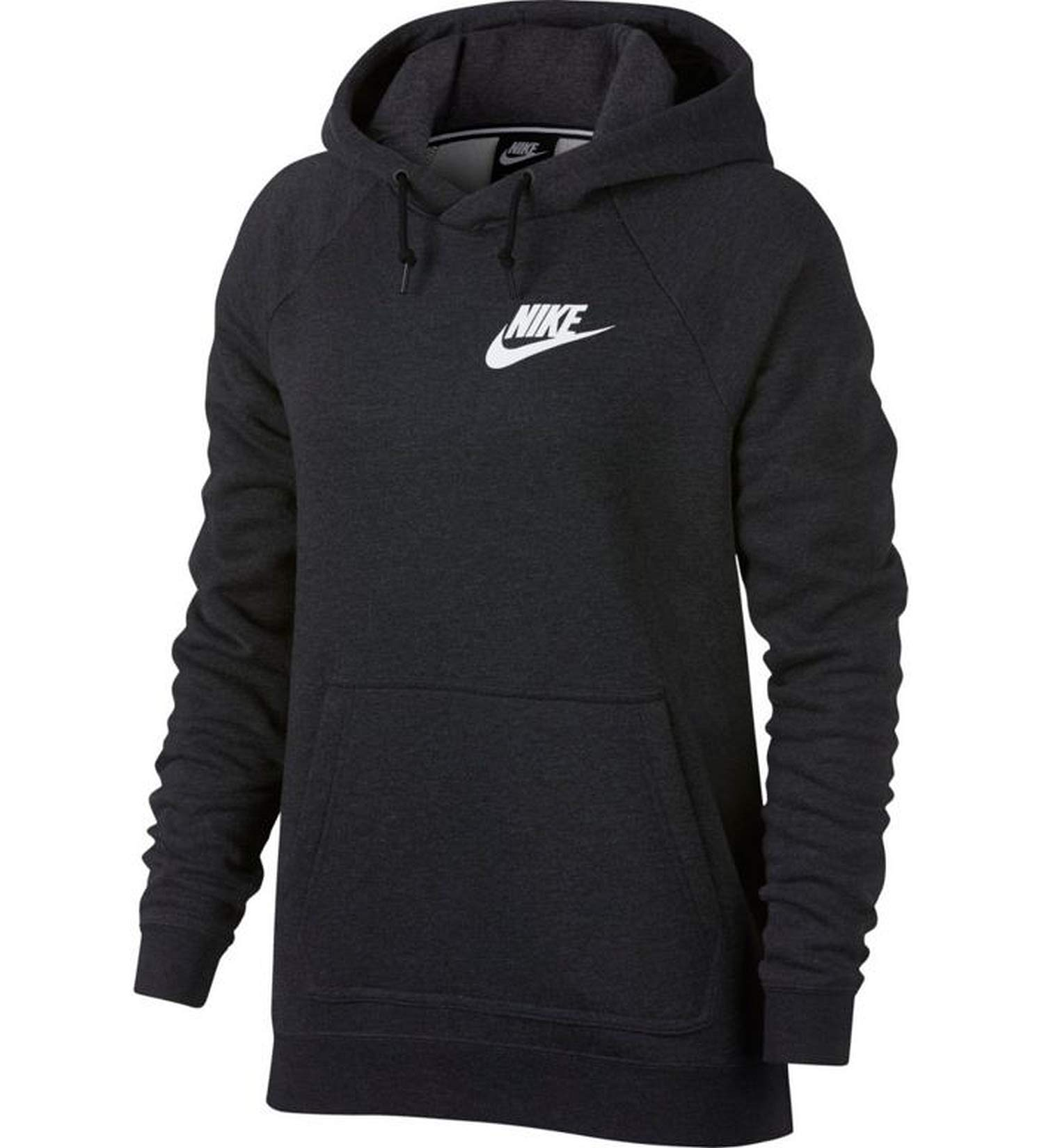 Nike Sportswear Rally Women's Hoodie (Small, Black Heather/White)