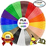 PLA 3D Pen Filament Refills(16 Colors, 40 Feet Each) with 100 Stencils EBooks - Dikale 3D Printing Pen Filament 1.75mm Total 640 Feet for MYNT3D, PACKGOUT, Tecboss, Soyan, Scribbler 3D Doodler Pen