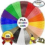 3D Printer - PLA 3D Pen Filament Refills(16 Colors, 40 Feet Each) with 100 Stencils EBooks - Dikale 3D Printing Pen Filament 1.75mm Total 640 Feet for MYNT3D, PACKGOUT, Tecboss, Soyan, Scribbler 3D Doodler Pen