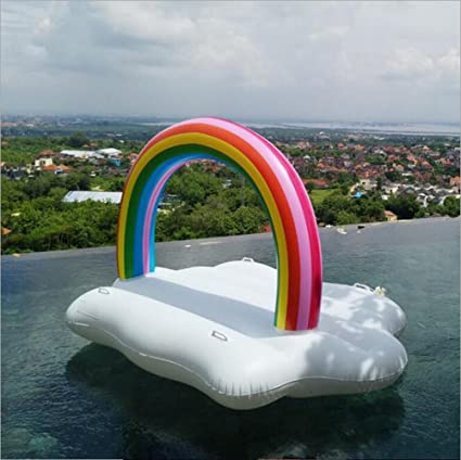 LILINA Giant Inflatable Rainbow White Clouds, Inflatable Floating Row, Kabel Swimming Pool Inflatable Seat
