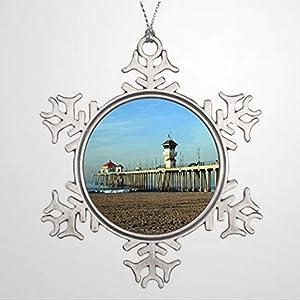 BYRON HOYLE Christmas Tree Ornaments Huntington Beach Pier Retro Christmas Christmas Snowflake Ornaments Xmas Decor Wedding Ornament Holiday Present