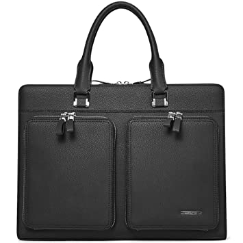 2667ca22f51e BOSTANTEN Leather Briefcase Slim Laptop Business Vintage Messenger Bags for  Men & Women