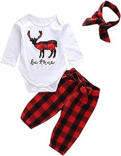 Jimmackey 3pcs Neonato Natale Pagliaccetto Renna Stampa Tutine Body Cime + Plaid Pantaloni + Fascia Bambina Abiti Set
