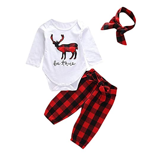 949eed88391a Amazon.com  Cute Baby Boys Girls Christmas Outfits Set Reindeer ...