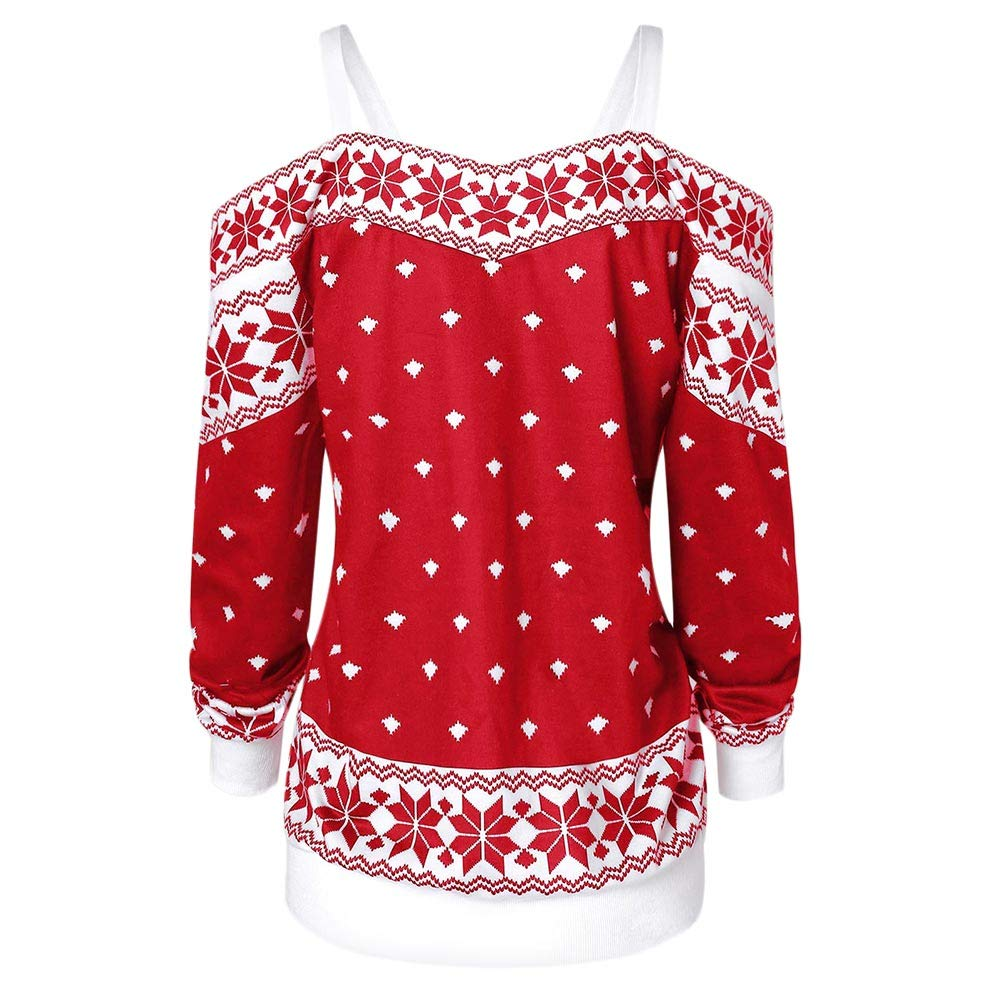 f355767a141785 Women s Christmas T-Shirt Long Sleeves Elk Snowflake Pattern Print Cold  Shoulder Off The Tee Shoulder Blouse Winter at Amazon Women s Clothing  store
