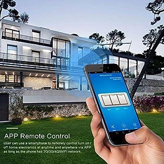 Teepao Interruptor WiFi, Interruptor Tactil Sensor 1 Gang Interruptores Inalambricos Inteligente para Hogar, Compatible con Android y la Aplicación iOS para Smart Home