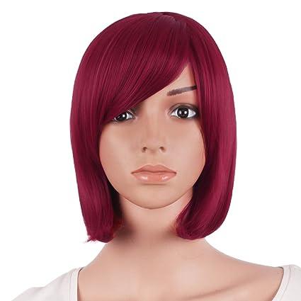 Mapofbeauty 12 Pulgadas/30cm Hermosa Recta Corta Peluca Flequillo Lateral Bob(Rojo Sangre)