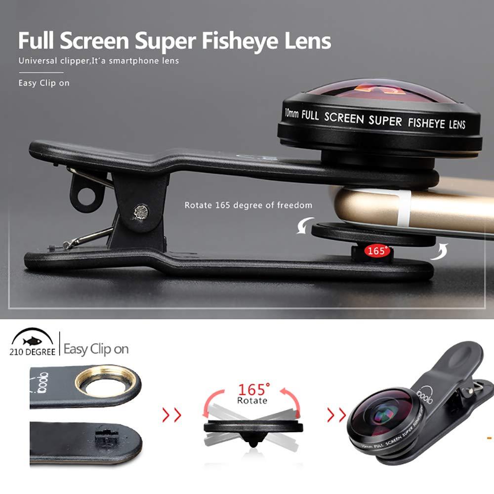 ZYLFN 10mm Pantalla Completa Super Ojo de pez Lente Clip-on tel/éfono Celular Lente de la c/ámara para la mayor/ía de Android y tel/éfono Inteligente