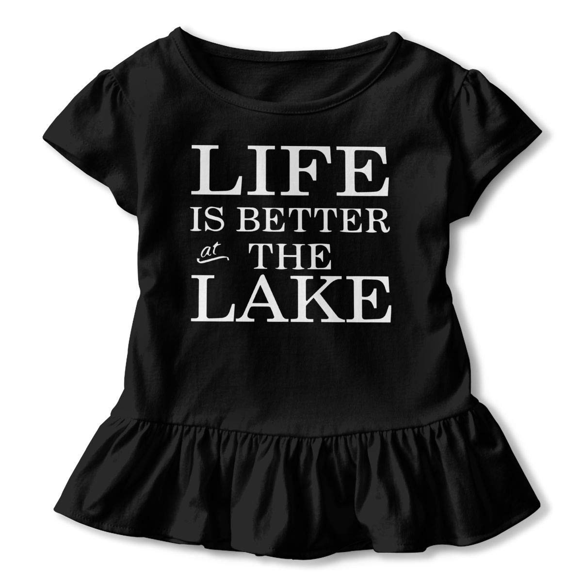 Short-Sleeve Life is Better On The Lake T-Shirts for Children 2-6T Kawaii Sweatshirt with Falbala