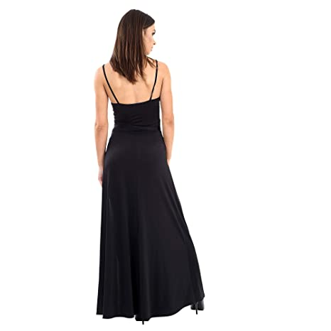 c0d8c5fa23 Womens New Strappy Extreme Split Leg Double Thigh Plain Black Party Maxi  Dress: Amazon.co.uk: Clothing