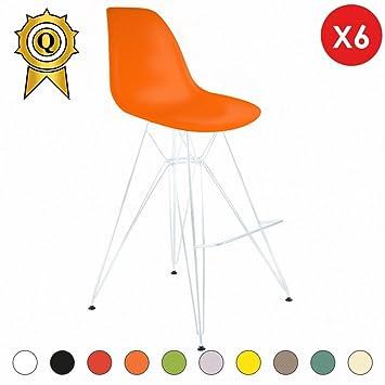 Verkauf 6 x Barhocker Beine:Stahl Patent Weiß Stitz:Orange-Flash ...