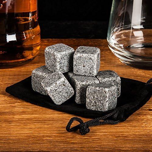 Savisto-Granit-Whisky-Stein-Geschenk-Set, wiederverwendbar, mit Edelstahl-Zange und Tasche, Set aus 10 Stück