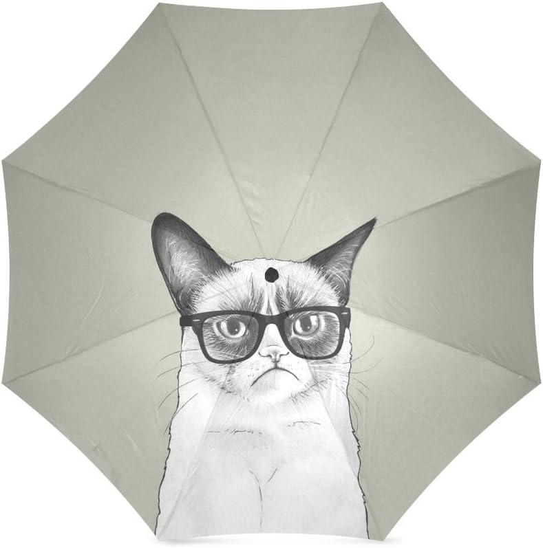 Beautytool Custom Personalized Grumpy Cat with Glasses Foldable Rain Umbrella Parasol
