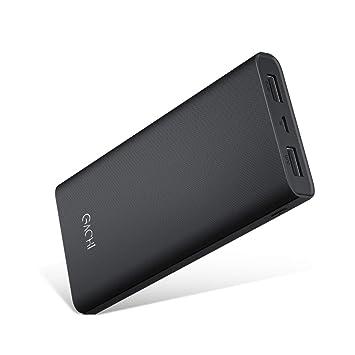 GACHI Powerbank 15000mAh Batería Externa para Móvil, Cargador Portátil Universal con 4 LED Indicadores, 2 Salidas USB, Power Bank para iPhone, Android ...