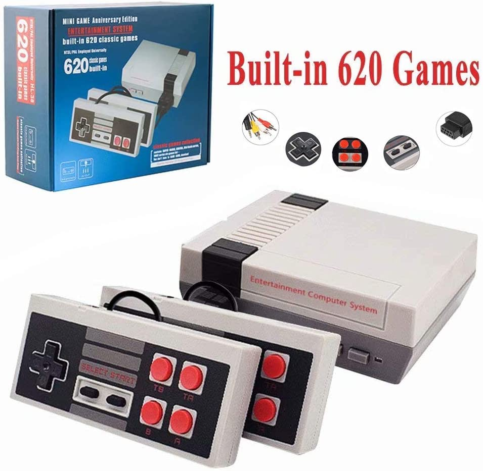 InLoveArts Classic Mini Game Consoles Classic Game Consoles Built-in with 620 Classic Retro Games Dual Players Mode Console PAL NTSL Support TV Output Bring Back Childhood Memory