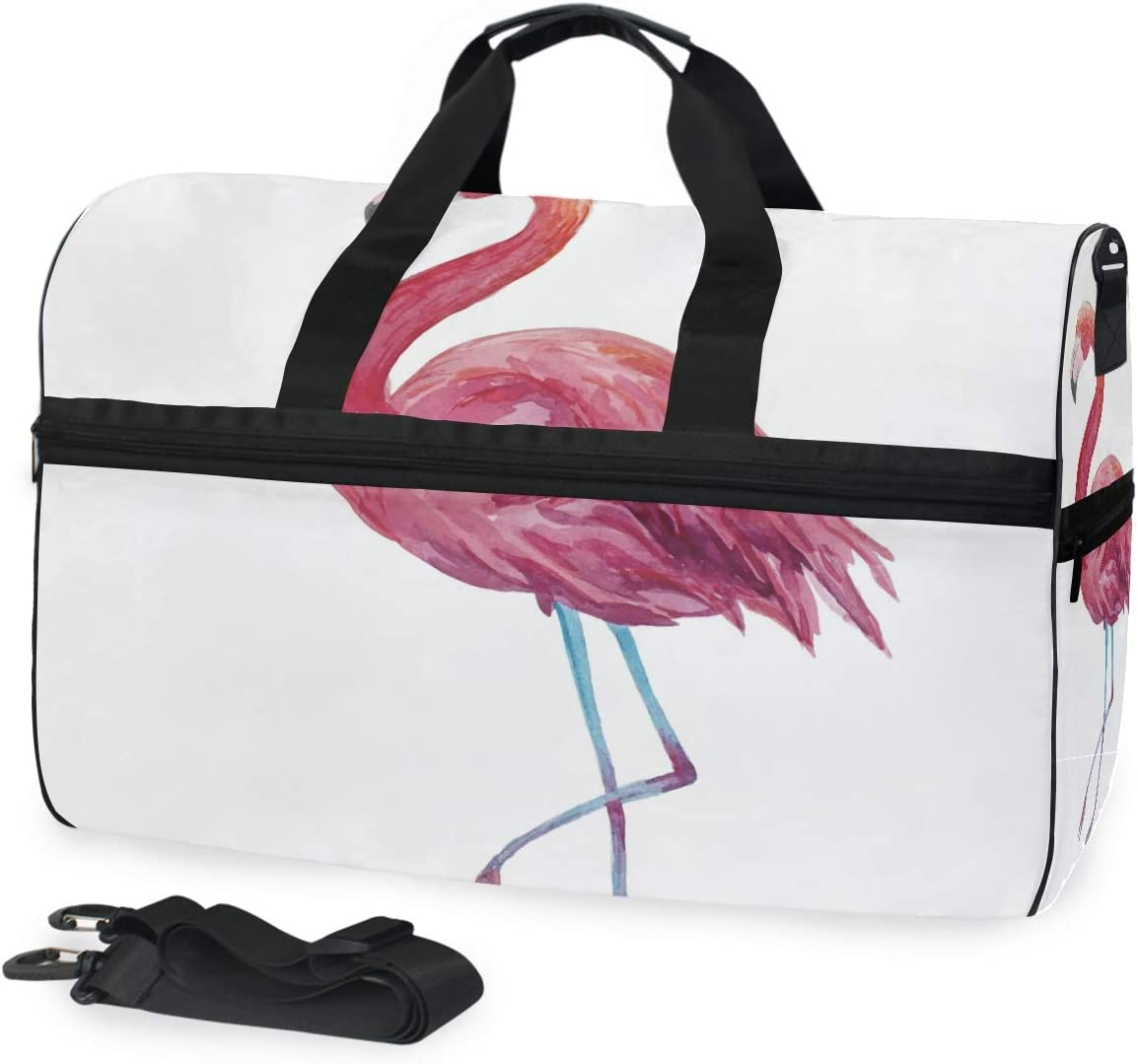 Lightweight Water Resistant Tear Resistant FANTAZIO Flamingo Paint Sports Bag Packable Travel Duffle Bag
