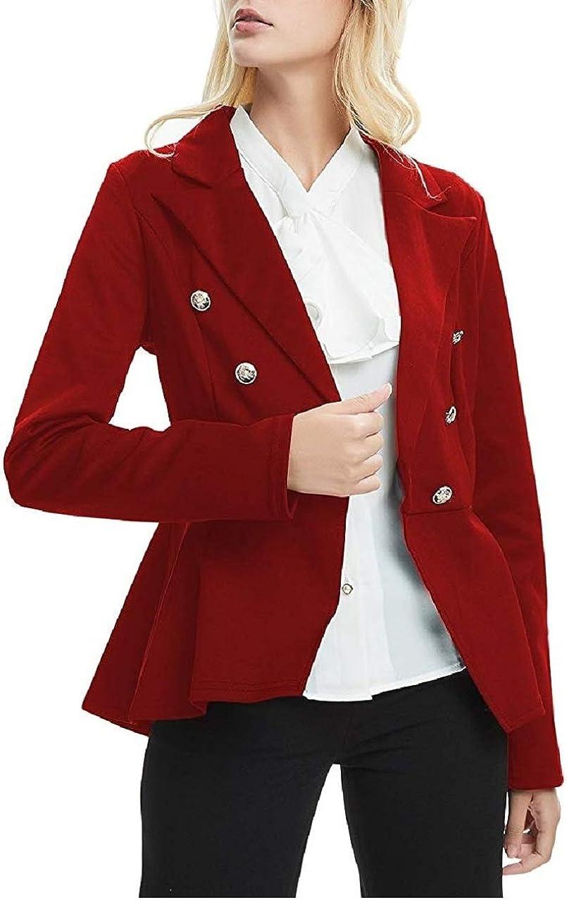 Amazon Com Minghaoyu Womens Blazer Work Peplum Double Breasted Office Jacket Ringmaster Costume Draped Notch Clothing
