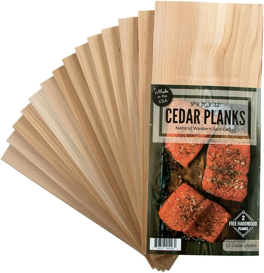 12 Cedar Grilling Planks for Salmon and More + 2 Hardwood Planks (Alder) : Garden & Outdoor